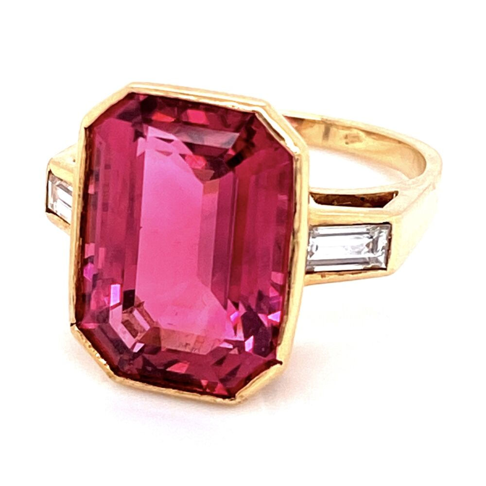 18K YG 10ct Pink Tourmalines Rubelite & .50tcw Diamond Ring 8.6g, s6.75