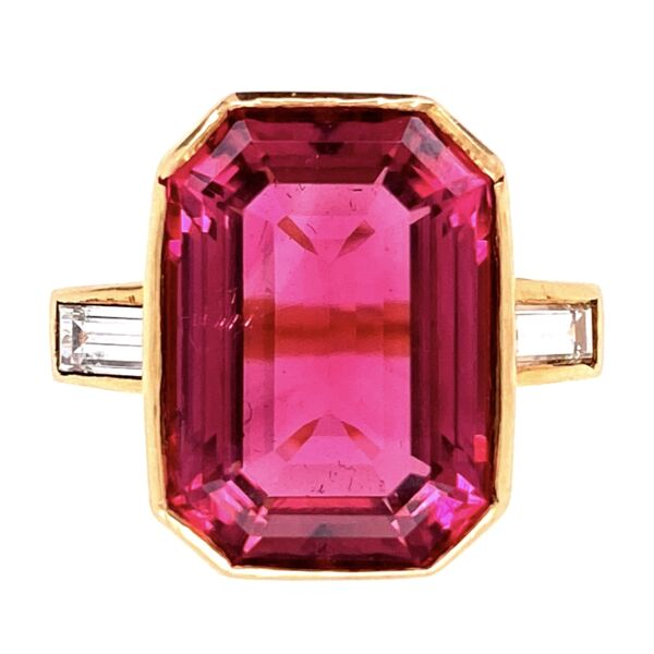 Closeup photo of 18K YG 10ct Pink Tourmalines Rubellite & .50tcw Diamond Ring 8.6g, s6.75