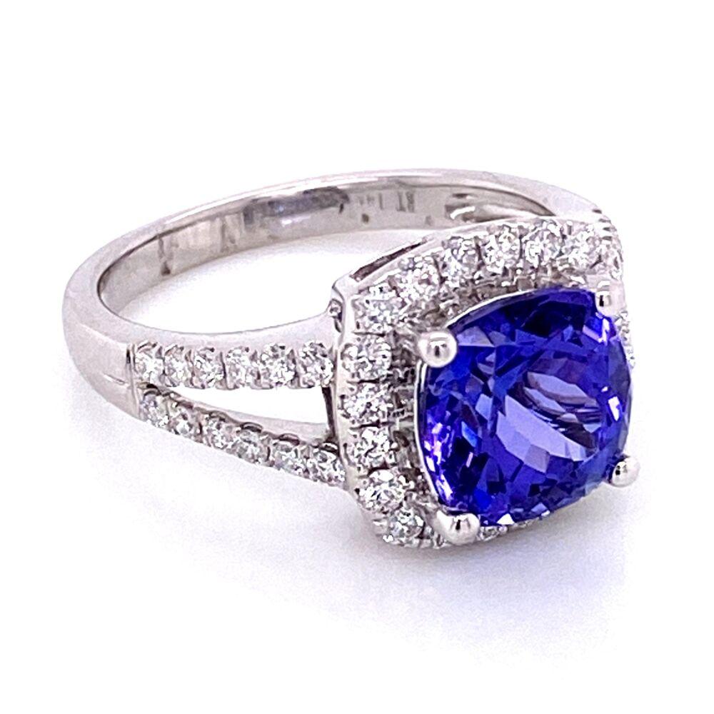 Image 2 for 14K WG 1.68ct Cushion Tanzanite & .54ct Diamond Pave Ring 3.8g, s