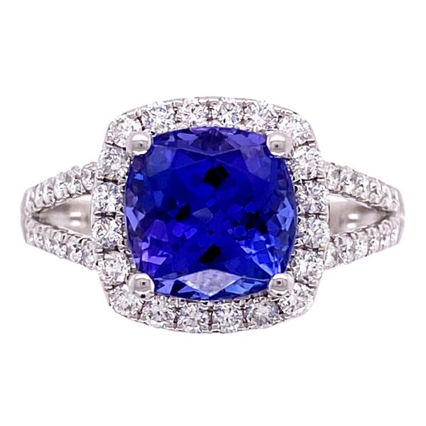 Closeup photo of 14K WG 1.68ct Cushion Tanzanite & .54ct Diamond Pave Ring 3.8g, s