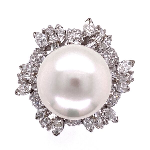 Closeup photo of 18K WG 12mm South Sea Pearl & 2.45tcw Diamond Ring 12.7g