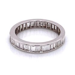 Closeup photo of 14K WG Baguette Diamond Eternity Band 1.40tcw 1.7g, s5.25