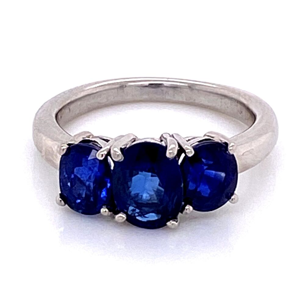 Image 2 for Platinum 3 Stone Oval Sapphire Ring 3.30tcw 6.4g, s5.25