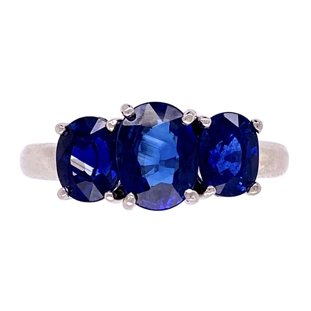 Platinum 3 Stone Oval Sapphire Ring 3.30tcw 6.4g, s5.25