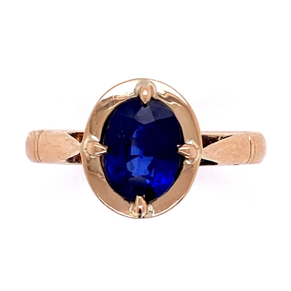 14K YG Victorian 1.38ct Oval Sapphire Ring 3.0g, s6.25