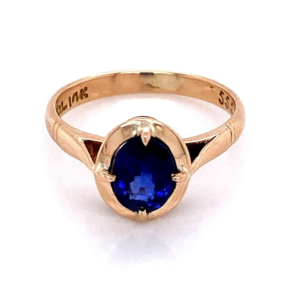 Image 2 for 14K YG Victorian 1.38ct Oval Sapphire Ring 3.0g, s6.25