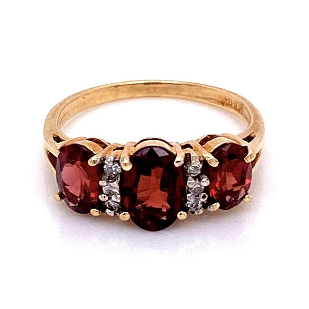 Image 2 for 10K YG 3 Stone Garnet & Diamond Ring 3.3g