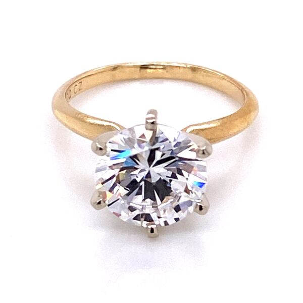 Closeup photo of 14K YG 6 Prong Solitaire CZ Cubic Zirconia Ring 2.6g, s