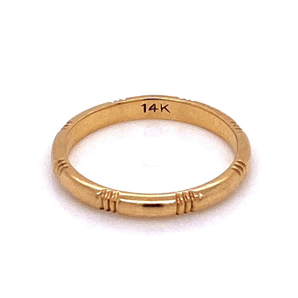 14K YG Band Ring Hash Mark Engraved Band Ring 1.7g, s