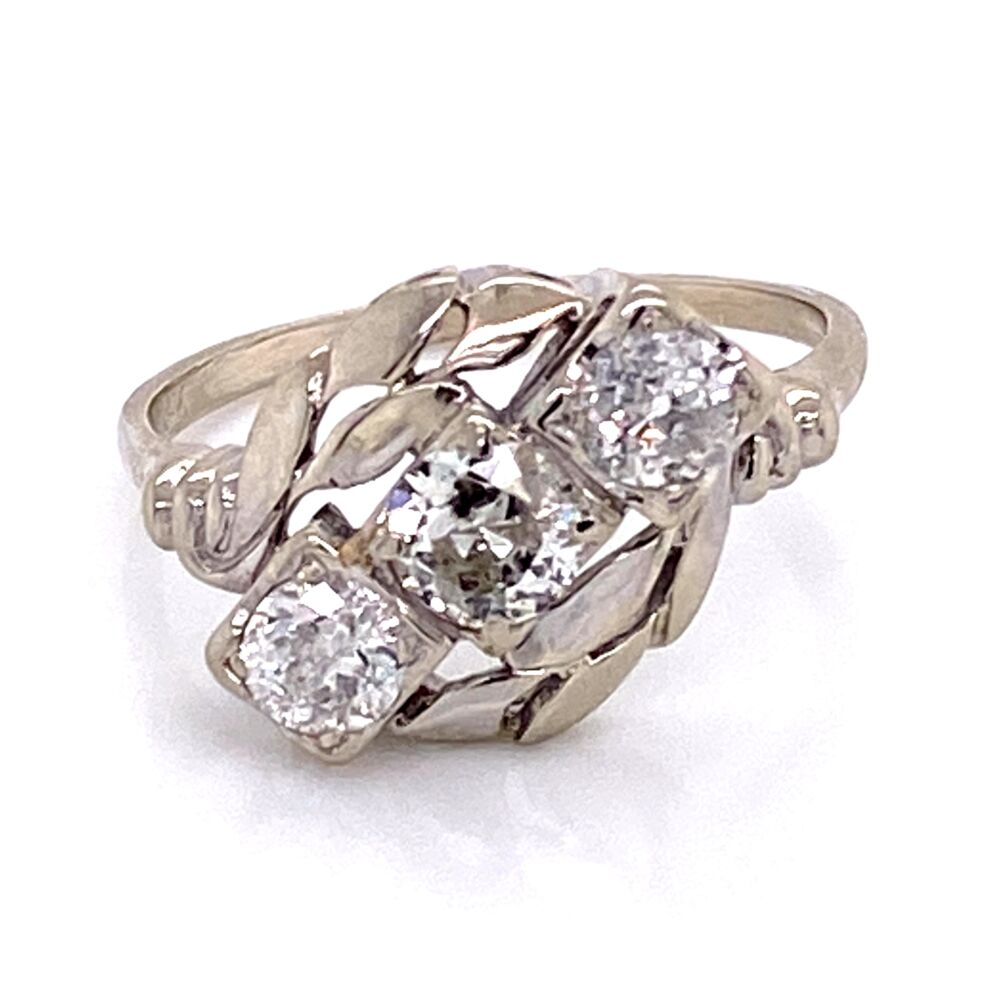 Image 2 for 14K WG 1950's 3 Diamond Ring 1.58tcw with Leaf Design 3.6g, s10