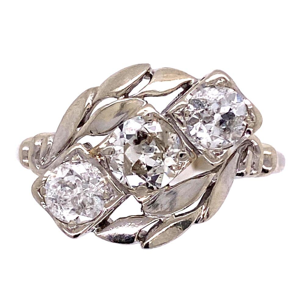 14K WG 1950's 3 Diamond Ring 1.58tcw with Leaf Design 3.6g, s10