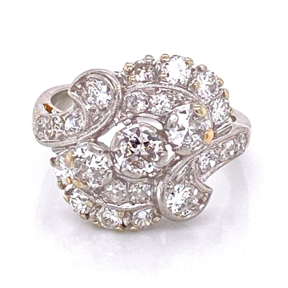 Platinum 1950's Spray 1.55tcw Diamond Ring 6.9g, s5.5