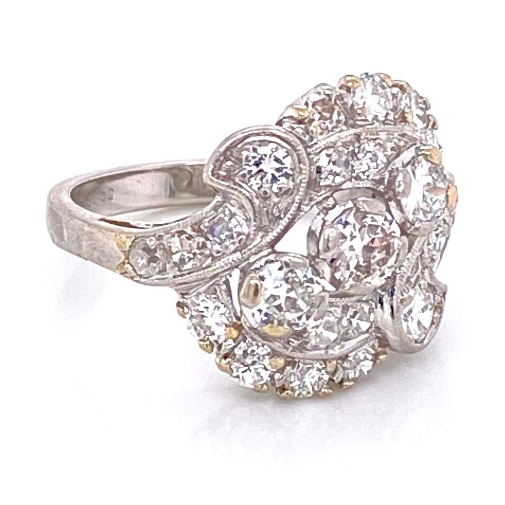 Image 2 for Platinum 1950's Spray 1.55tcw Diamond Ring 6.9g, s5.5