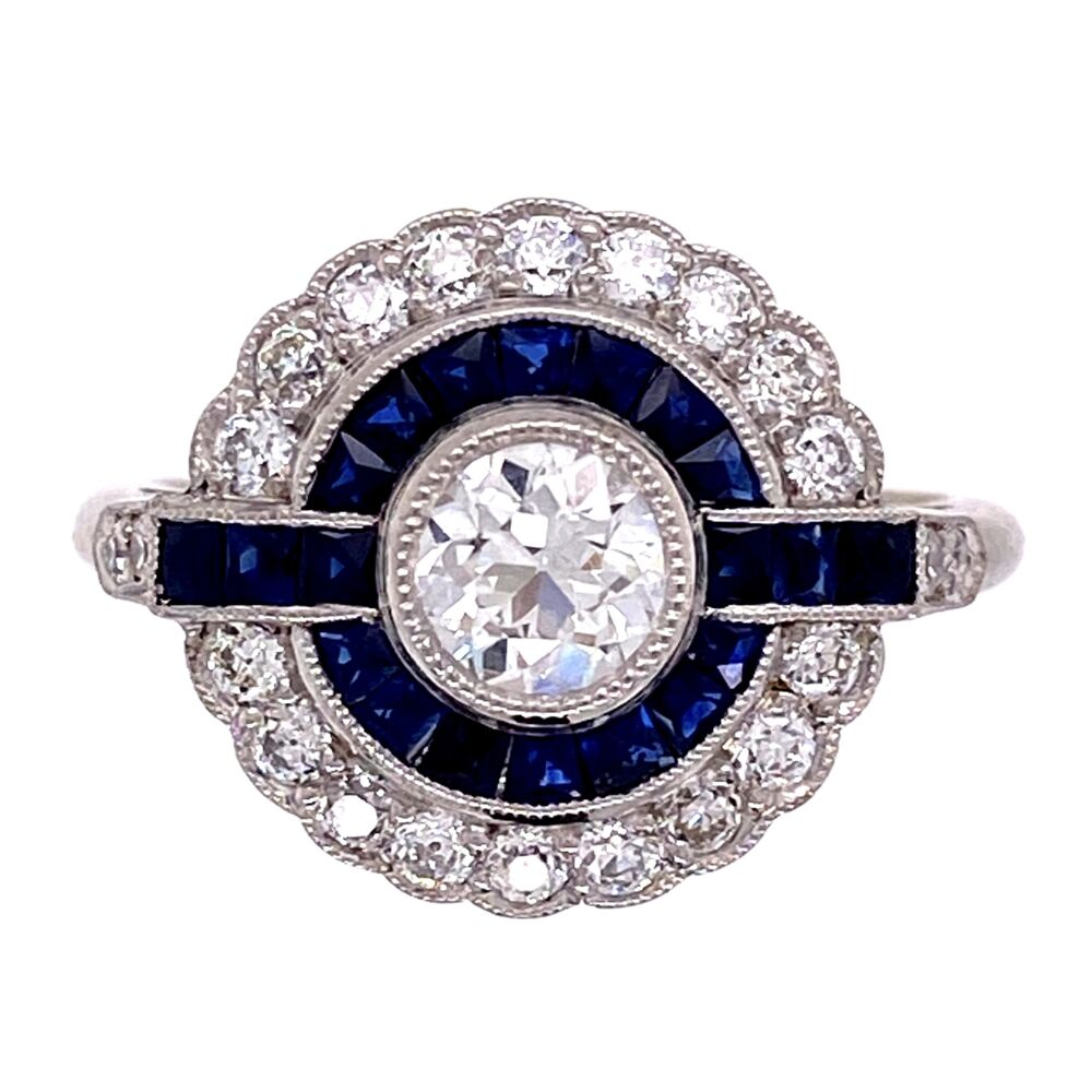 Platinum Art Deco .44ct Old European Cut Diamond & Sapphire Ring