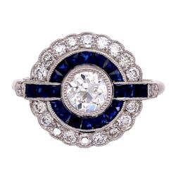 Closeup photo of Platinum Art Deco .44ct Old European Cut Diamond & Sapphire Ring