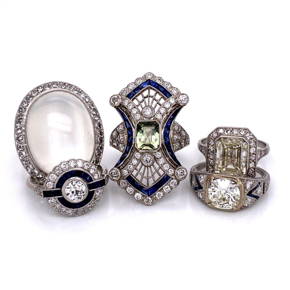 Image 2 for Platinum Art Deco .44ct Old European Cut Diamond & Sapphire Ring