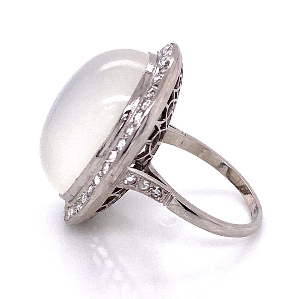 Image 2 for Platinum Handmade Large Moonstone Ring with Rosecut Diamonds