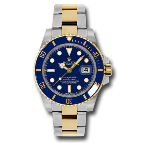 Closeup photo of Rolex 116613 Blue Ceramic Submariner Steel and Gold Watch