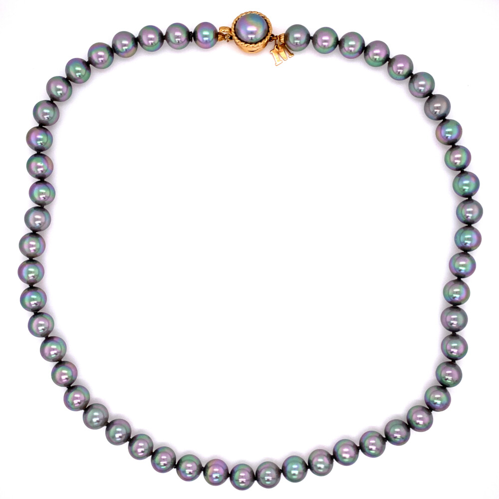 """Image 2 for Grey Tahitian Majorica Pearl 18"""" Strand in Yellow Gold Plated 925"""