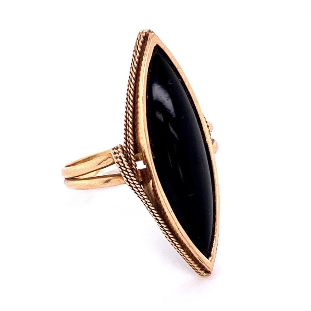 Image 2 for 14K YG Victorian Onyx Navette Ring 3.8g