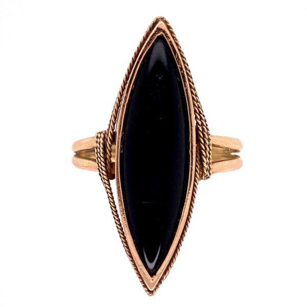 Closeup photo of 14K YG Victorian Onyx Navette Ring 3.8g