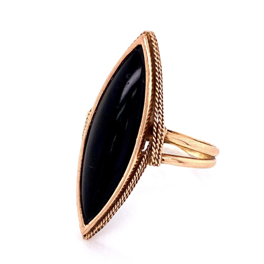 14K YG Victorian Onyx Navette Ring 3.8g