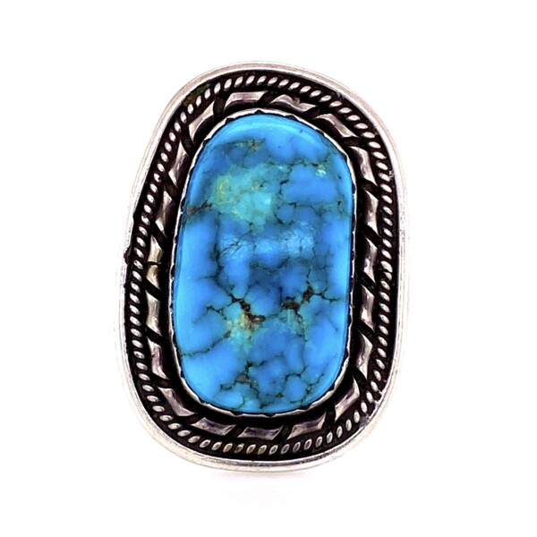 "Closeup photo of 925 Sterling Old Pawn Turquoise Ring stamped ""ET"" 10.1g"