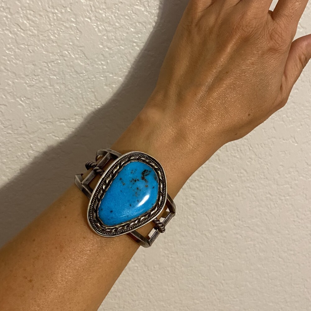 """Image 2 for 925 Sterling Old Pawn Turquoise Cuff Bracelet Stamped """"ET"""" 71.0g"""