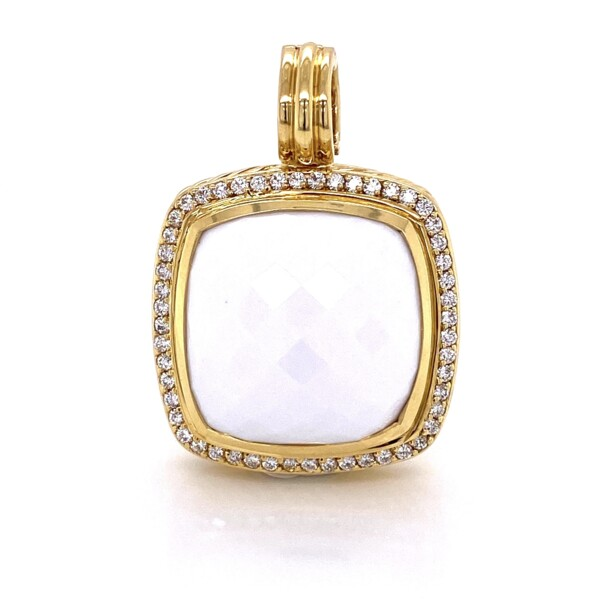 Closeup photo of 18K YG David Yurman Large 20mm White Agate Pendant .48tcw Diamonds 23.2g