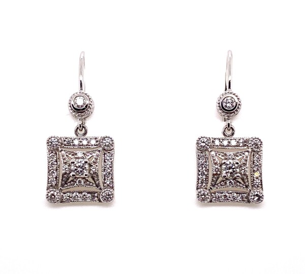Closeup photo of 18K White Gold PENNY PREVILLE Diamond Drop Earrings 5.7g