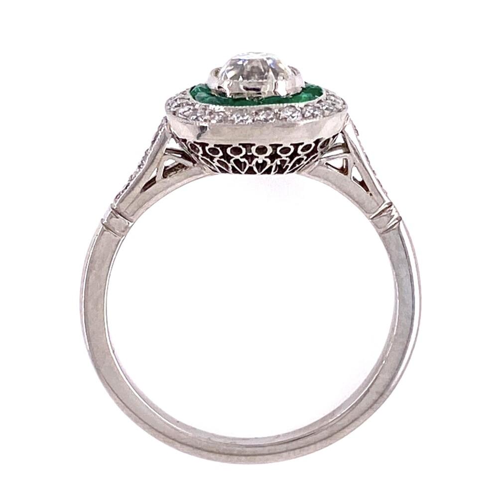 Platinum Art Deco .80ct Antique Diamond Ring with Emeralds