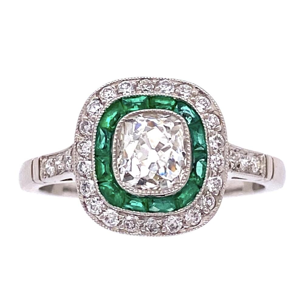 Image 2 for Platinum Art Deco .80ct Antique Diamond Ring with Emeralds