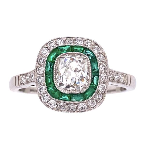 Closeup photo of Platinum Art Deco .80ct Antique Diamond Ring with Emeralds