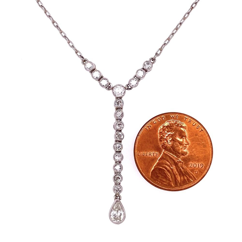 Image 2 for Platinum antique Diamond Drop Necklace