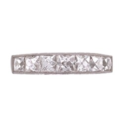 Closeup photo of Platinum Engraved French Cut Diamond Band Ring 1.80tcw