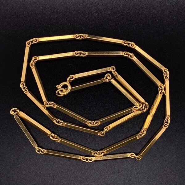 """Closeup photo of 18K Yellow Gold Bar Link Chain with Spring Ring Clasp 19.2g, 21"""""""