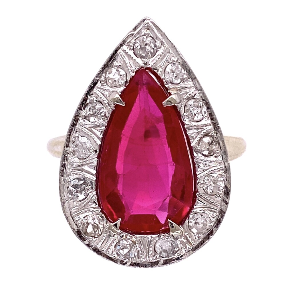 14K WG Synthetic Pear Shape Ruby & Diamond Ring, 9.0g