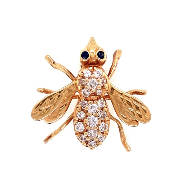 Closeup photo of 14K YG Diamond Bee Brooch Pin with Sapphire Eyes 3.2g