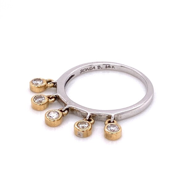 Closeup photo of 14K W/YG SONIA B 5 Dangling Diamond Band Ring
