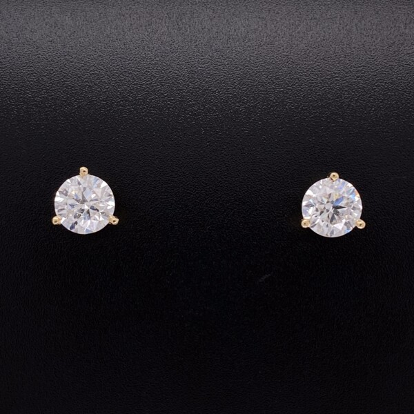 Closeup photo of 14K YG Martini Stud Earrings 2.01tcw G-SI2