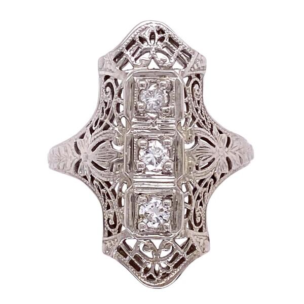 Closeup photo of 14K WG Art Deco Filigree Navette Diamond Ring 3.8g