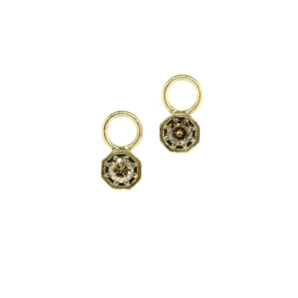 Closeup photo of Cynthia Ann Jewels Tiny Champagne Diamond Octagon Earring Charms