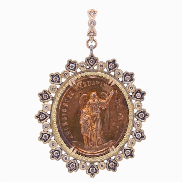 Closeup photo of Cynthia Ann Jewels French Guardian Angel and St. Joseph Pendant