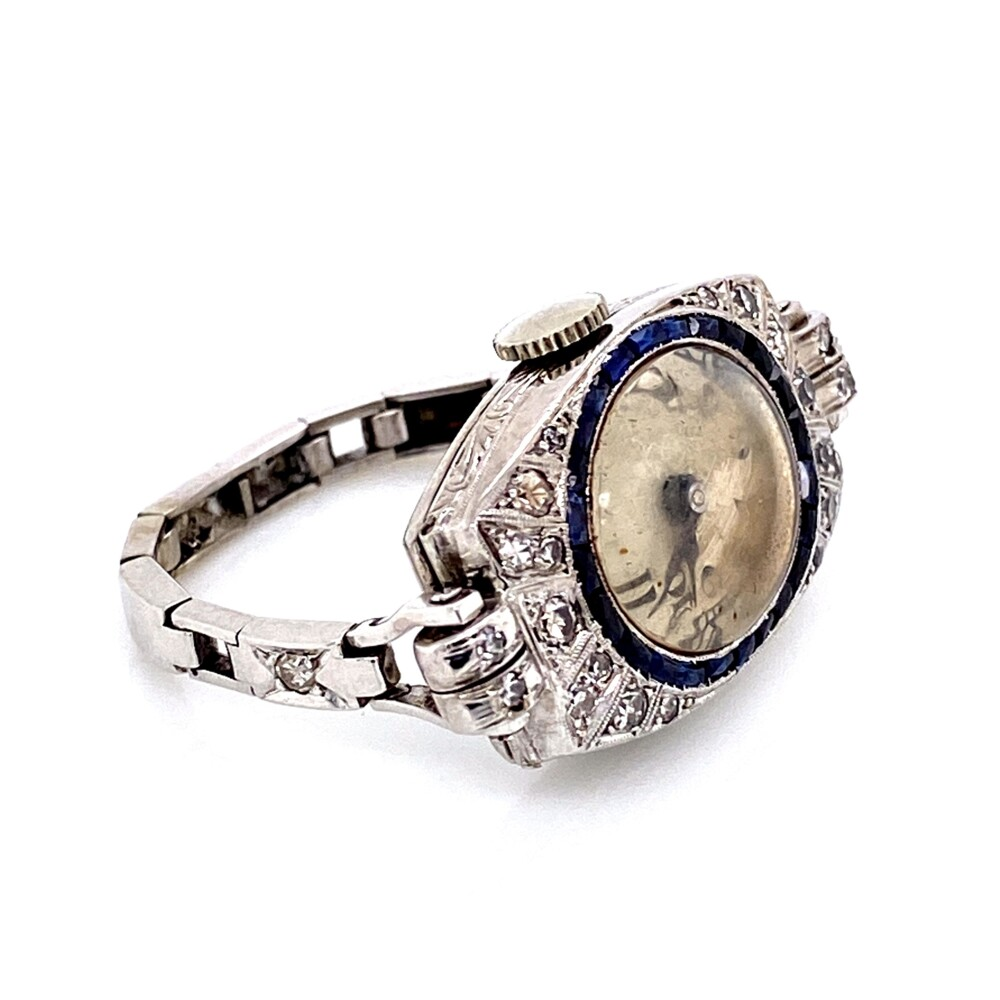 Platinum on 14K Art Deco Watch Ring with Diamonds and Sapphires