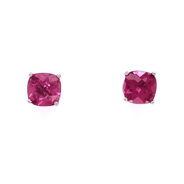 Closeup photo of 14K White Gold Rubelite Tourmaline Stud Earrings