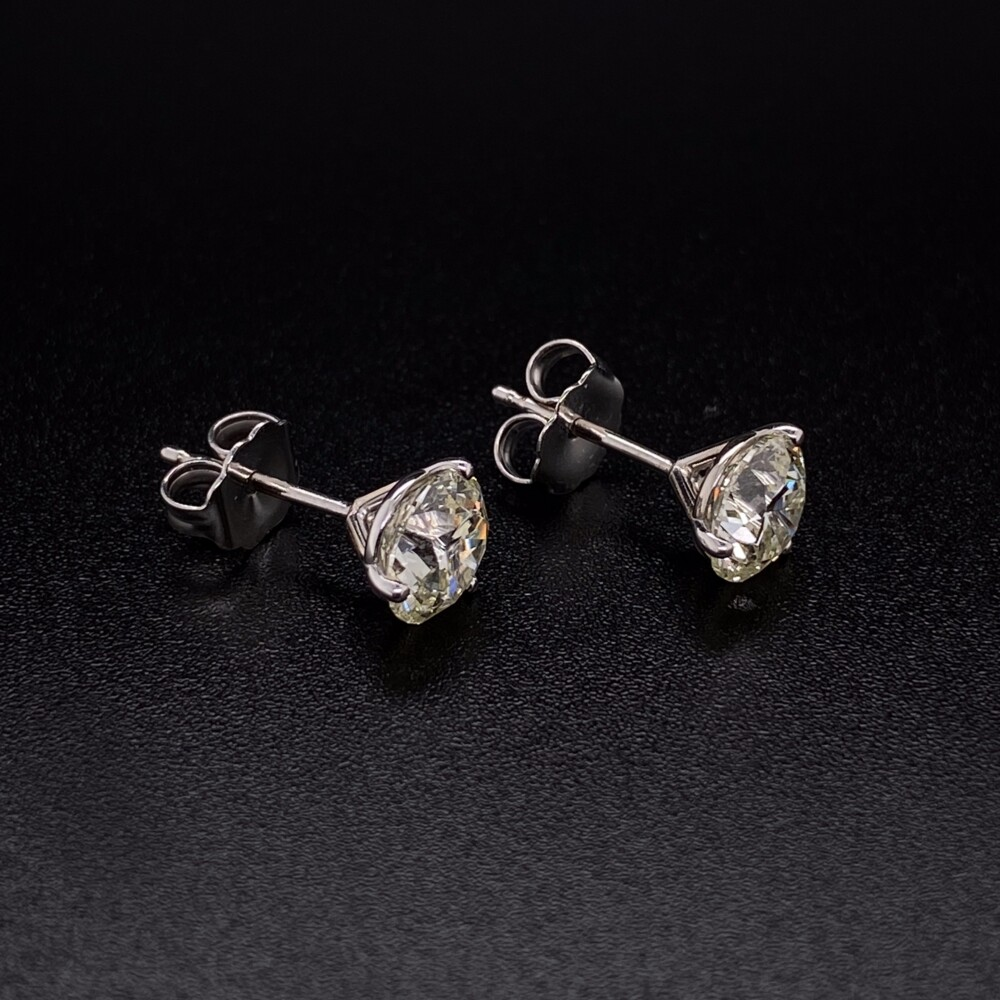 Image 2 for 2.02tcw Round Brilliant Diamond Stud Earrings H-SI2