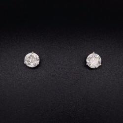 Closeup photo of 2.02tcw Round Brilliant Diamond Stud Earrings H-SI2