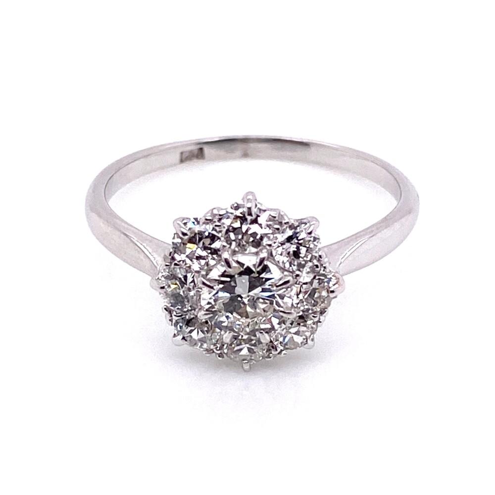 Image 2 for Platinum Mid-Century 1.30tcw Cluster Diamond Ring