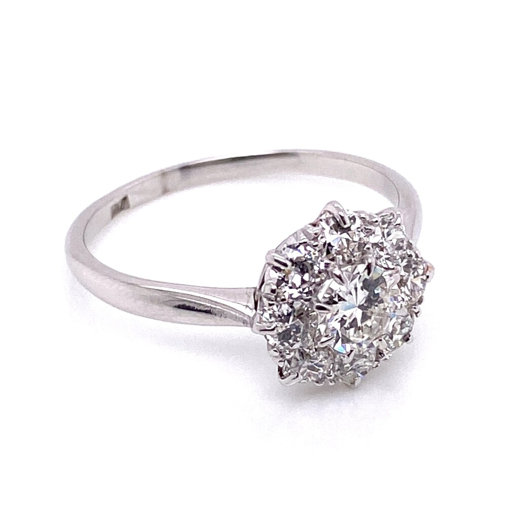 Platinum Mid-Century 1.30tcw Cluster Diamond Ring