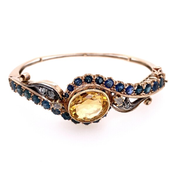 Closeup photo of 15K Victorian Bangle Bracelet with Sapphires, Citrine & Diamonds 22.1g